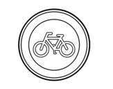 Dibujo de Entrada prohibida a ciclos para colorear