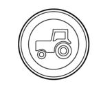 Dibujo de Entrada prohibida a vehículos agrícolas de motor para colorear