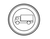 Dibujo de Entrada prohibida a vehículos destinados a transporte de mercancías para colorear