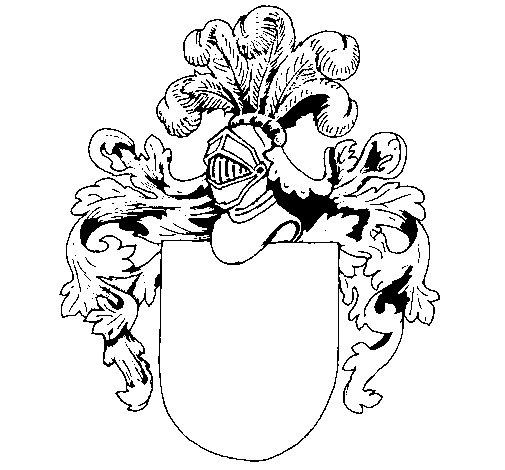 Dibujo de Escudo de armas y casco para Colorear