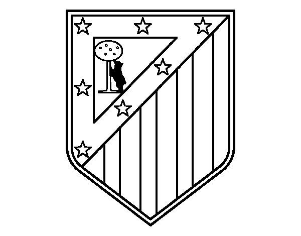 Dibujos Para Colorear Escudo Real Madrid: Dibujo De Escudo Del Club Atlético De Madrid Para Colorear