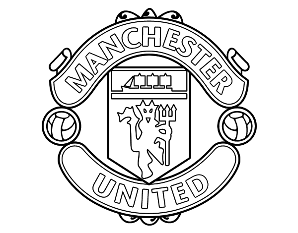 Dibujos Escudos De Futbol Para Colorear: Dibujo De Escudo Del Manchester United Para Colorear
