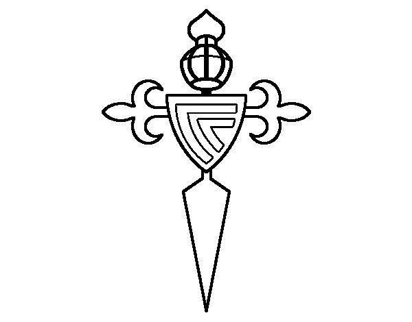 Dibujo de Escudo del Real Club Celta de Vigo para Colorear