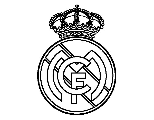 Dibujo de Escudo del Real Madrid C.F. para Colorear