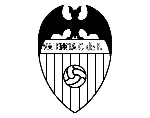 Dibujo de Escudo del Valencia C. F. para Colorear