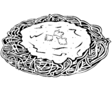 Dibujo de Espaguetis con queso para colorear