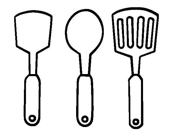 Dibujo de esp tulas de cocina para colorear for Dibujos de cocina