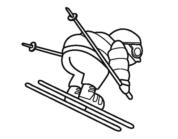 Dibujo de Esquiador experimentado para Colorear