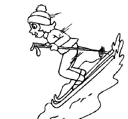 Dibujo de Esquiadora para Colorear