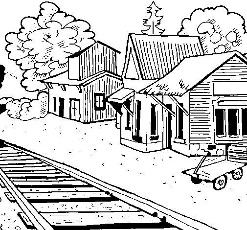 Dibujo de Estación de tren para Colorear