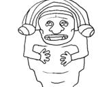 Dibujo de Estatua demonio maya