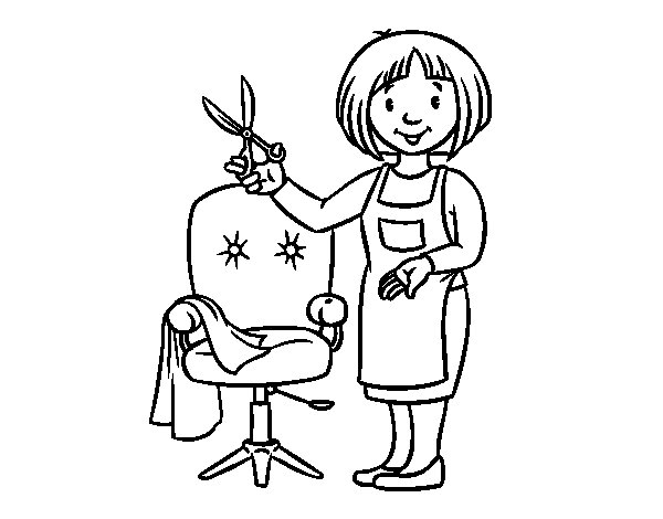 Dibujo de Estilista peluquera para Colorear
