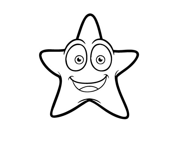 Dibujos De Estrellas Para Colorear E Imprimir: Dibujo De Estrella De Mar Sonriente Para Colorear
