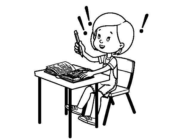 Nino Para Colorear Para Para Un Nino Leyendo Para Colorear: Dibujo De Examen De Colegio Para Colorear