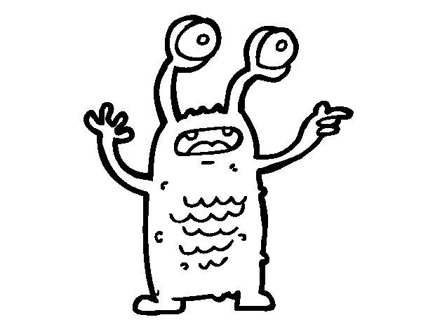 Dibujo de Extraterrestre con los ojos salidos para Colorear