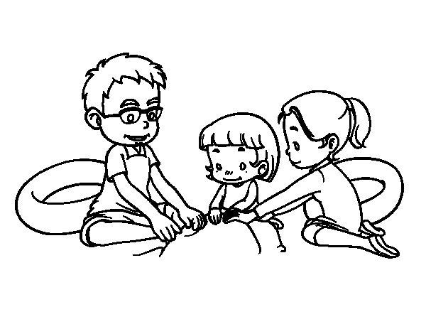 Dibujo de Familia en la playa para Colorear  Dibujosnet