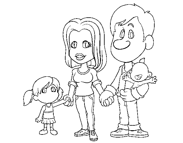 Dibujo de Familia feliz para Colorear  Dibujosnet