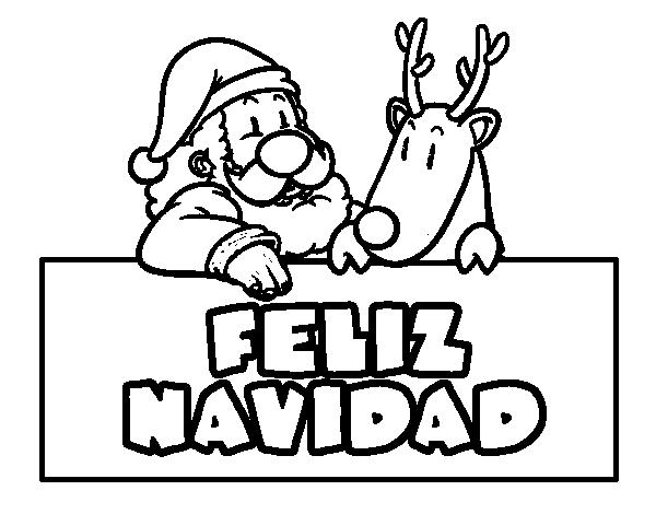 Dibujo de felices navidades para colorear for Actividades de navidad para colorear