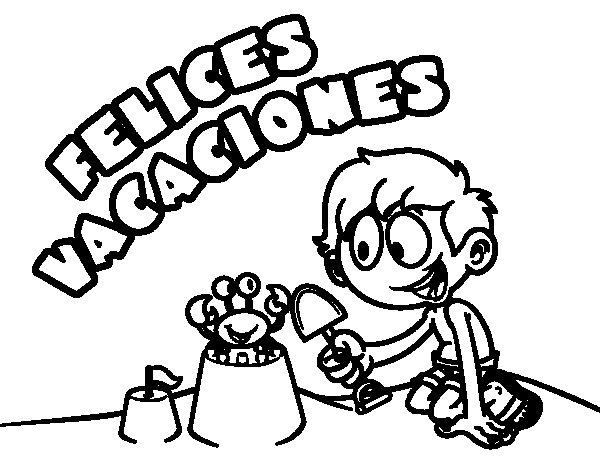 Dibujo de Felices vacaciones para Colorear