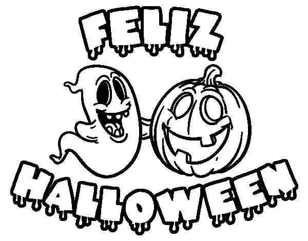Dibujo de Feliz Halloween para Colorear  Dibujosnet