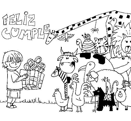 Dibujo de Fiesta de animales 1 para Colorear