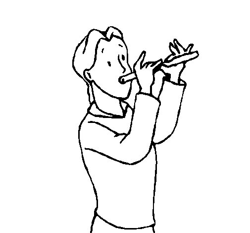 Dibujo de Flautista para Colorear