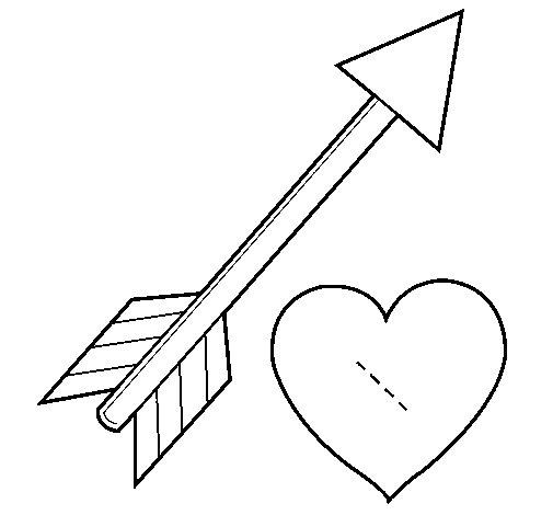 Dibujo de Flecha y corazón para Colorear