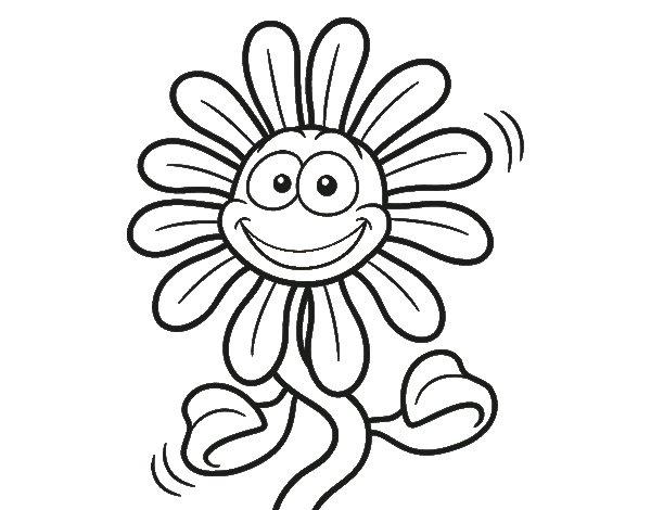 Dibujos Para Colorear De Flora: Dibujo De Flor Animada Para Colorear