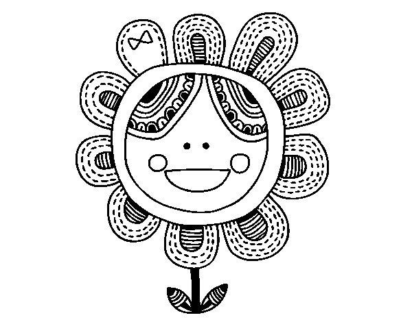 Dibujo de Flor patchwork para Colorear