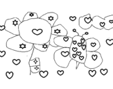 Dibujo de Flores y corazones para colorear