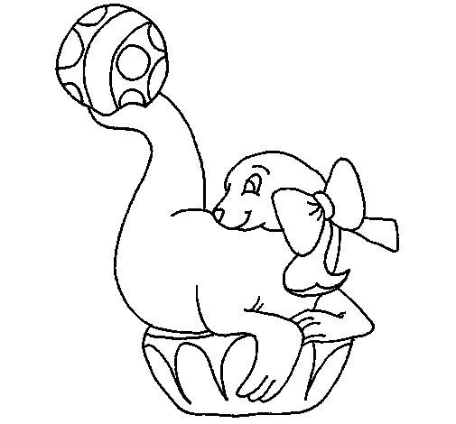 Dibujo de Foca jugando a la pelota para Colorear