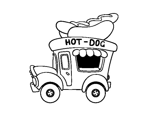Dibujo de Food truck de perritos calientes para Colorear