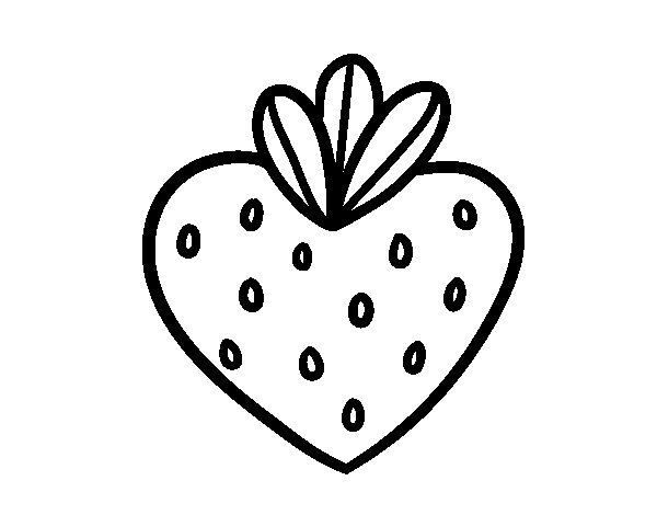 Dibujo de Fresa corazón para Colorear