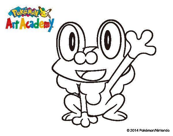 150 Dibujos De Pokemon Para Colorear: Dibujo De Froakie Saludando Para Colorear