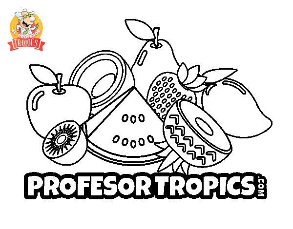 Dibujo de Frutas Profesor Tropics para Colorear