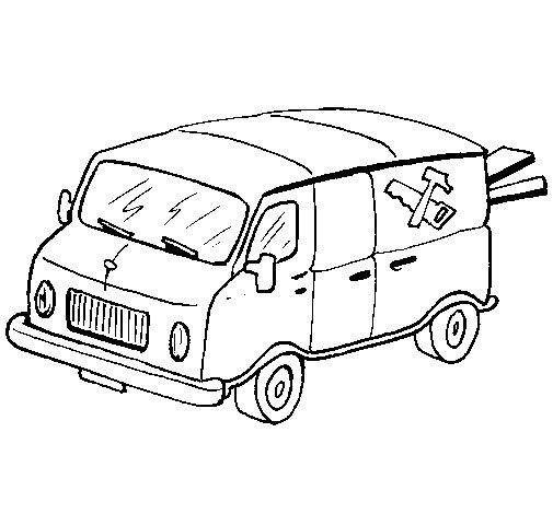 Dibujo de Furgoneta de carpintero para Colorear