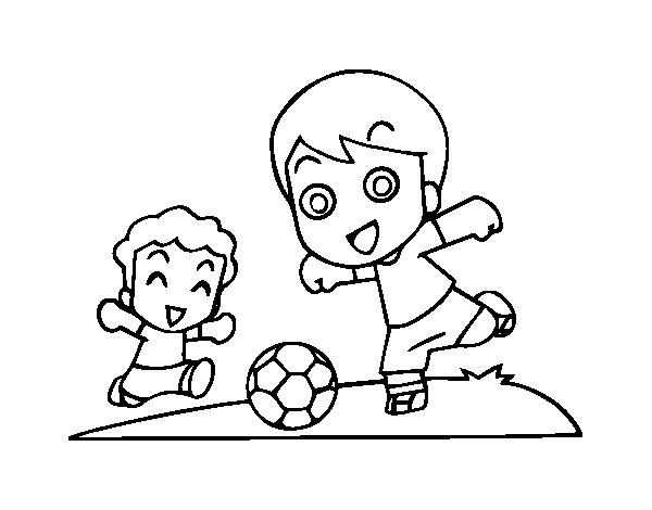 Láminas Para Colorear Juegos Tradicionales: Dibujo De Fútbol En El Recreo Para Colorear
