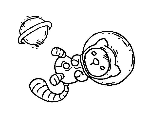 Cohete De Astronauta Y Vintage De Dibujos Animados: Dibujo De Gatito Astronauta Para Colorear