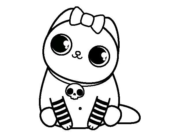 Dibujo de Gatito emo para Colorear