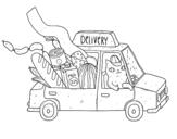 Dibujo de Gatito repartidor