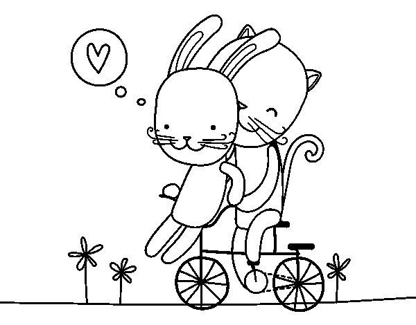 Dibujo de Gatito y Conejito enamorados para Colorear