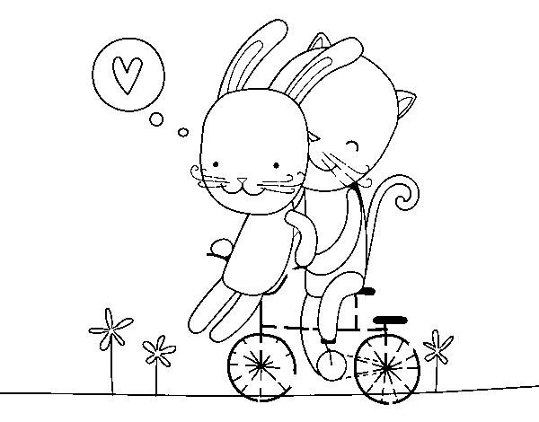 Dibujos Para Colorear Del Dia De Los Enamorados: Dibujo De Gatito Y Conejito Enamorados Para Colorear