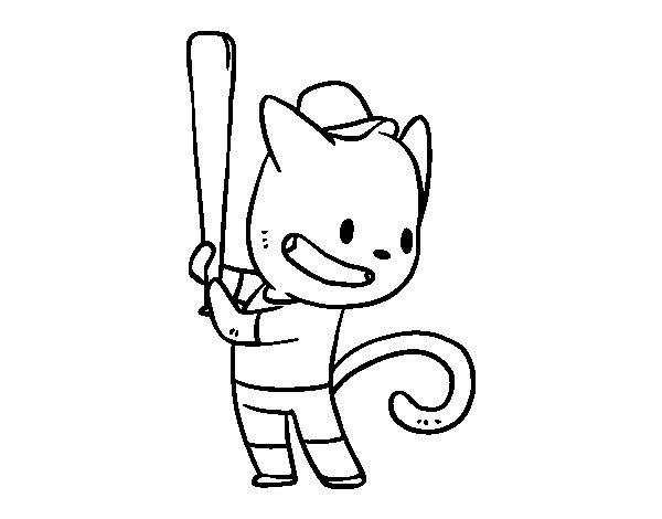 Dibujo de Gato bateador para Colorear