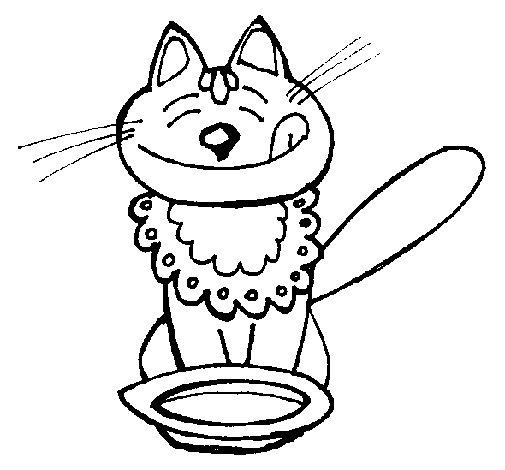 Dibujo de Gato comiendo para Colorear