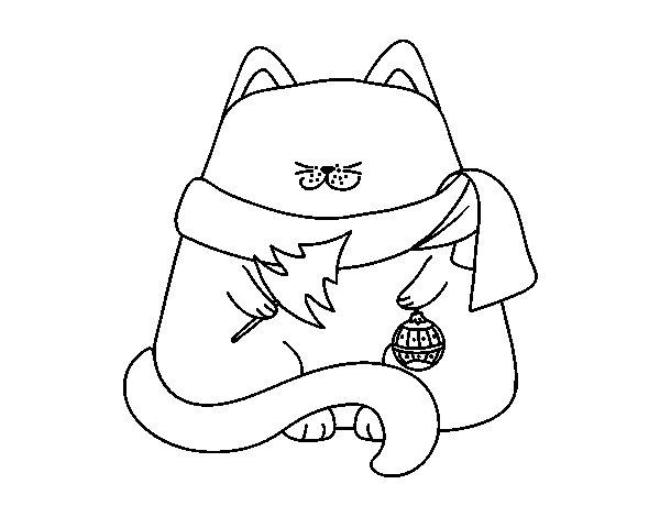 Adornos De Navidad Dibujos Para Colorear: Dibujo De Gato Con Adornos Navideños Para Colorear