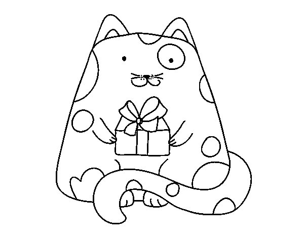 Dibujo de Gato con un regalo para Colorear