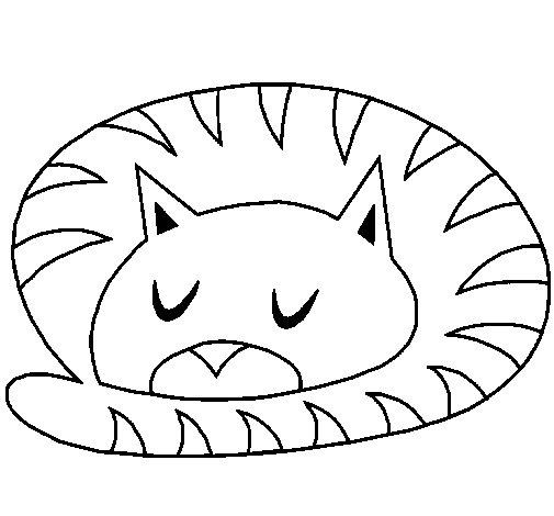 Dibujo de Gato durmiendo para Colorear