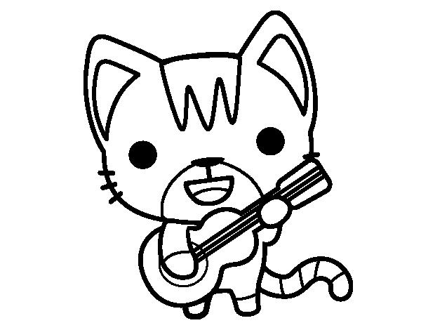 Dibujo de Gato guitarrista para Colorear  Dibujosnet