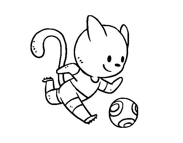 Dibujo de Gato jugando a fútbol para Colorear