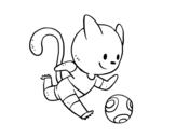 Dibujo de Gato jugando a fútbol